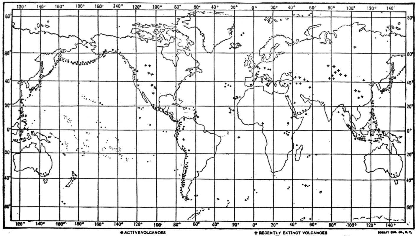 The wonder book of volcanoes and earthquakes edwin j houston map of the world showing location of active and recently extinct gumiabroncs Gallery